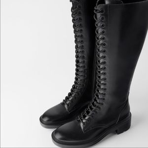 Zara Low Heel Lace Boots